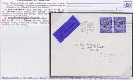 Ireland Airmail 1922-23 Thom Saorstat 2½d Pair On Airmail Cover To Paris Dublin Machine BAILE ATHA CLIATH 26 MAR 1923 - Briefe U. Dokumente