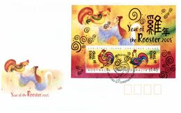 (O 7) Australia - FDC Cover - Chinese New Year Of The Cockerel (2 Covers) 2005 - Christmas Island