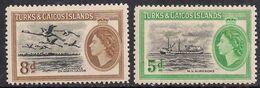 Turks & Caicos Islands 1955 QE2 Set Definitives MM SG 235 - 236  ( K1307 ) - Turks And Caicos