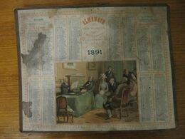 CALENDRIER - ALMANACH DES POSTES 1891 - LE CONTRAT DE MARIAGE - Voir état. - Groot Formaat: ...-1900