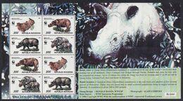 FEUILLET NEUF D'INDONESIE - FAUNE PROTEGEE : RHINOCEROS N° Y&T 1474 A 1477 - Rhinoceros