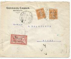 GRAND LIBAN SEMEUSE 5C JAUNEX2+40C MERSON LETTRE  COVER BEYROUTH 12.3..1924 POUR ALGERIE - Gran Libano (1924-1945)