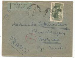 LEBANON LIBAN 15P SOLO LETTRE COVER AVION BEYROUTH 19.VI.1941 POUR FRANCE CENSURE - Lebanon