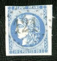 46A - 20c Bleu Cérès Bordeaux - Type III Report 1 - Oblitéré - 3 Grandes Marges, Au Filet En Haut. - 1870 Bordeaux Printing