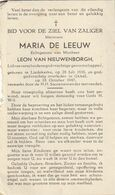 Liedekerke, Ukkel, Uccle, 1947, Maria De Leeuw, Van Nieuwenborgh - Devotieprenten