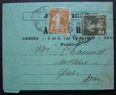 Rennes 1936 Justificatif Agence Havas Publicité Affranchi à 3 Centimes - Marcofilia (sobres)