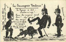 "Militaria Satirique Illustrateur H Saussol Edit Albi "" La Sauvagerie Teutonne"" Recto Verso - Patriotic"