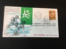 Expo 58 : Inde Portugaise : Pli à Tirage Limité Avec Timbre Spécial - 1950-59 Repubblica