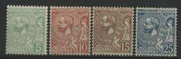 MONACO N° 22 à 25 Cote 62,50 € Neufs ** (MNH) (N° 24 Légr Pli Au Dos Voir Photo). 1901 - Monaco