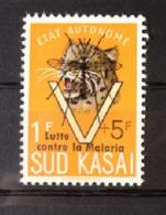 """Sud Kasai - 20B - Léopards - Surcharge """"Lutte Contre La Malaria"""" - 1961 - MNH - South-Kasaï"""