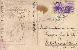 """(St.Post.)*.Colonie.Etiopia.1937.-20c """"Effigie"""" Violetto,isolato Su Cartolina (7-20) - Aethiopien"""