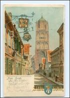 XX005634/ Stralsund Böttcherstraße Litho AK 1901 - Sin Clasificación