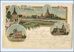 XX005606/ Gruß Aus Stralsund Litho AK 1899 - Sin Clasificación