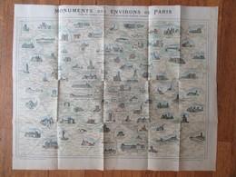 Carte Géographique / Plan Des Monuments Des Environs De Paris - Magasins Du Bon Marché - Imprimerie Vaugirard - Carte Geographique