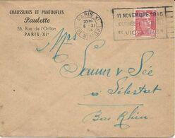 "LETTRE 1946 AVEC FLAMME PARIS XI RUE MERCOEUR 11 NOVEMBRE 1946 JOURNEE NATIONALE ""VICTOIRE"" - Maschinenstempel (Werbestempel)"