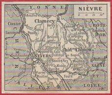 Petite Carte Du Département De La Nièvre. Larousse 1954. - Documenti Storici