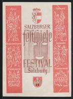 Österreich Salzburg Schöne Anlasskarte Festspiele Festival SST Zensur Heidelberg - 1945-.... 2. Republik