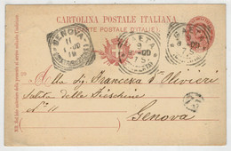 C.P.  PICCOLA   CARTOLINA  POSTALE  ITALIANA   DA GENOVA  X GAETA   1900  2 SCAN   (VIAGGIATA) - Marcophilia