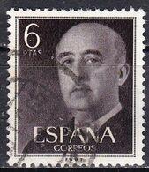 Spagna, 1954/56 - 6p Gen. Franco - Nr.833 Usato° - 1931-Aujourd'hui: II. République - ....Juan Carlos I
