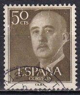 Spagna, 1954/56 - 50c Gen. Franco - Nr.821 Usato° - 1931-Aujourd'hui: II. République - ....Juan Carlos I
