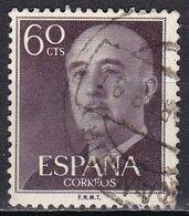 Spagna, 1954/56 - 60c Gen. Franco - Nr.822 Usato° - 1931-Aujourd'hui: II. République - ....Juan Carlos I