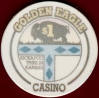 $1 Casino Chip. Golden Eagle, Horton, KS. I95. - Casino