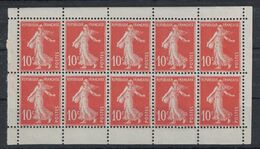 TIMBRE SEMEUSE N° 138 NEUF ** En BLOC De CARNET (5 PAIRES VERTICALES) Avec BORD BLANC SUR CHAQUE TIMBRE - Freimarke