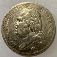 5 Francs Louis XVIII Tête Nue A 1820 Paris TB+ - J. 5 Francs