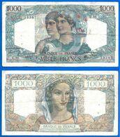 France 1000 Francs 1945 12 Juillet Prefix U Minerve Mercure Que Prix + Port Grand Billet Frcs Frc Paypal Bitcoin OK - 1871-1952 Antichi Franchi Circolanti Nel XX Secolo