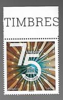 France 2020 - Yv N° 179 ** - 75ème Anniversaire De L'UNESCO  (timbre De Service) - Francia