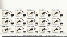 2000 2001 Tanzania Stork Birds OVERPRINT ERROR Plate Block Of 15   MNH  **UNIQUE SHIFT UP ** - Tanzania (1964-...)