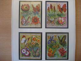 Burundi 1973- Schmetterlinge Und Blumen 12 Viererblocks Satz Mi.Nr. 963-1010 Mit Gefälligkeitsstempel - 1970-79: Ungebraucht
