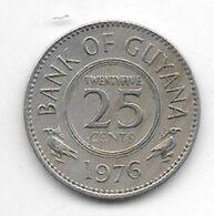 *guyana 25 Cents 1976 Km 34   Unc/ms63 - Guyana