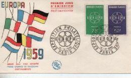 1959  FDC   EUROPA  PARIS     N° YVERT ET TELLIER   1218/9 - 1950-1959
