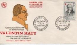 1959  FDC  CROIX ROUGE  VALENTIN  HAUY     N° YVERT ET TELLIER   1227 - 1950-1959
