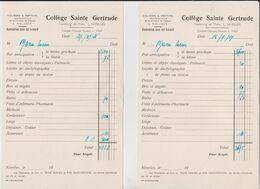 Nivelles, Factures Collège Sainte Gertrude 1947. - 1900 – 1949