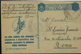 MS79 1943 FRANCHIGIA POSTALE, LA VITA SOBRIA DEI CITTADINI....  , CASAMASSIMA ART. CONTRAEREA , MILITARE DI ALEZIO , - Military Mail (PM)