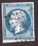 Napoléon III N° 14B Bleu-verdâtre - Oblitération PC 389 Béziers - 1853-1860 Napoléon III