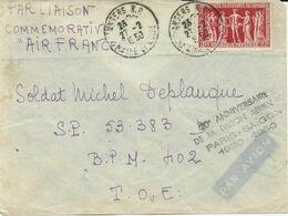 LETTRE PAR AVION 1950 POUR UN MILITAIRE EN INDOCHINE AVEC TIMBRE A 15 FR PRESIDENTS DE CHAMBRE DE COMMERCE - Marcophilie (Lettres)