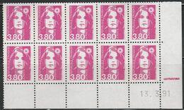 2624  3.80F. Rose BRIAT  Bloc De 10 Daté - Sans Presse Du 13.3.91 Avec Repère électronique - 1989-96 Maríanne Du Bicentenaire