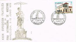 37705. Carta BARCELONA 1975. Exposicion Filatelica Feria Muestras. Dama Paraguas - 1931-Aujourd'hui: II. République - ....Juan Carlos I