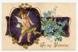 Fête De La Saint Valentin.To My Valentine.ange,cupidon Et Son Arc,carte Gaufrée.rehauts De Dorure - San Valentino