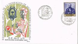 37706. Carta BARCELONA 1963. Exposicion Filatelica Federacion Mutualidades. MORENETA Montserrat - 1931-Aujourd'hui: II. République - ....Juan Carlos I