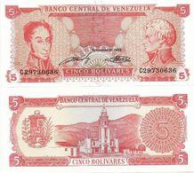 VENEZUELA       5 Bolívares       P-70b       21.9.1989       UNC - Venezuela