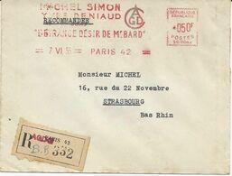 LETTRE RECOMMANDEE1942 AVEC EMA ALLIANCE GENERALE DE DISTRIBUTION CINEMATOGRAPHIQUE - Freistempel