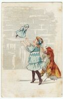 BAMBINI - BAMBINA CHE GIOCA CON BAMBOLA E CANE - 1922 - Vedi Retro - Formato Piccolo - Children's Drawings
