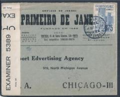 Carta Censurada Jornal 'Primeiro De Janeiro', Porto, 1941. Guimarães. Censored Letter Newspaper 'First Of January'. 2ww. - 1910-... République