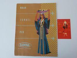 Aviation Civile SABENA Années 60 Superbe Affichette + Autocollant Naar Israël Per Sabena Femme - Werbung