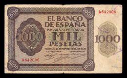 España Spain 1000 Pesetas Burgos 1936 Pick 103 Serie A BC+ F+ - [ 3] 1936-1975 : Regime Di Franco
