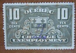 QUEBEC CANADA Fiscali Revenue Tax  10 Cents  - Usato - Fiscali